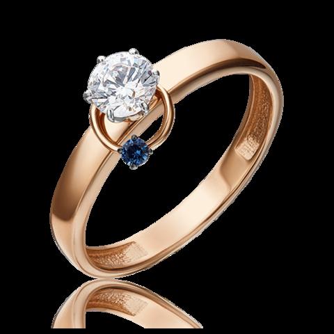 01-5211-00-504-1111-38 - Кольцо из золота с подвеской колечко с синим фианитом