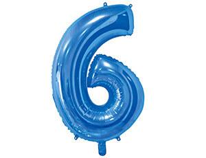 Цифра 6 синяя с гелием 65 см