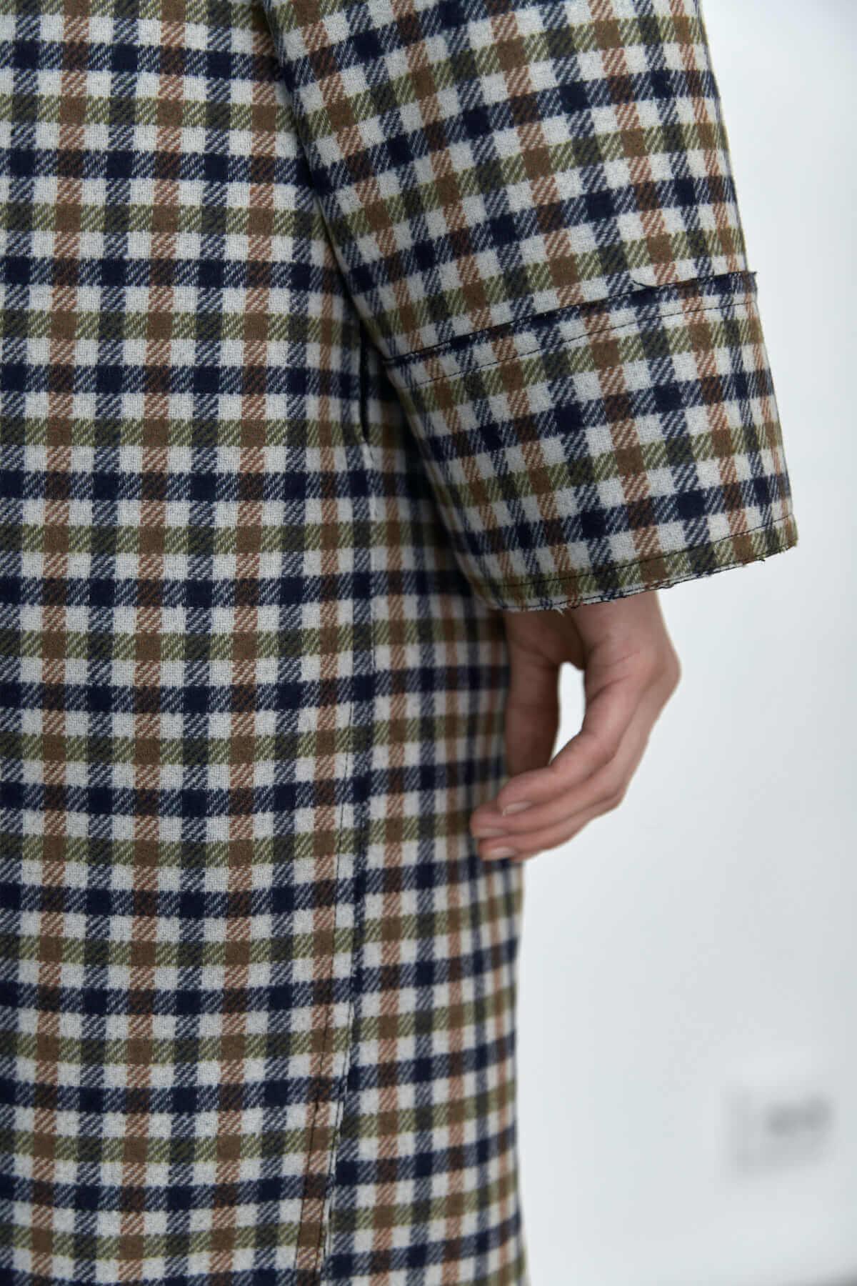 Пальто-рубашка на кнопках, сине-зеленая клетка