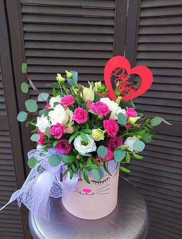 Цветы в  шляпной коробочке КОШКА  #765