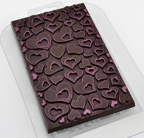 Пластиковая форма для шоколада ср. ПЛИТКА В СЕРДЕЧКАХ вся поверхность 100х160мм