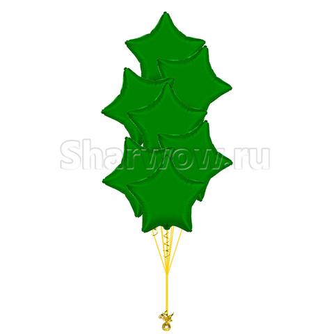 Букет из шаров звезд зеленый