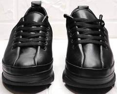 Черные кеды туфли женские на шнурках Mario Muzi 1350-20 Black.