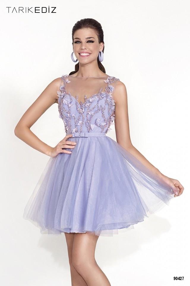 Коктейльное платье Tarik Ediz 90427 в фиалковом цвете