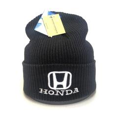 Вязаная шапка с вышитым логотипом Хонда (Honda) черная