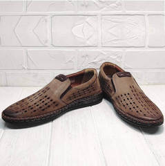 Мужские слипоны туфли с дырочками business casual для мужчин летние Luciano Bellini 91737-S-307 Coffee.