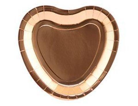 Тарелка Сердце фольг роз золото 23см6штG