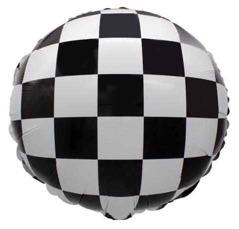 Круг Гоночный флаг, Шахматная клетка, 45 см
