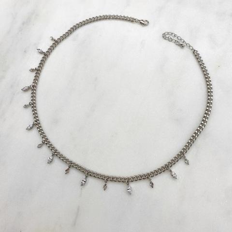 Чокер-цепь с цирконами-маркиз (серебристый)