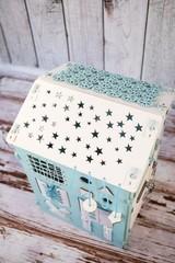 Очень Большой дом Звёздное небо с подсветкой  Мятного цвета с белыми элементами.
