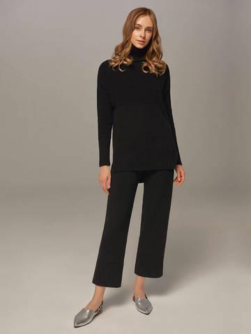Женский свитер черного цвета с высоким горлом из шерсти и кашемира - фото 5