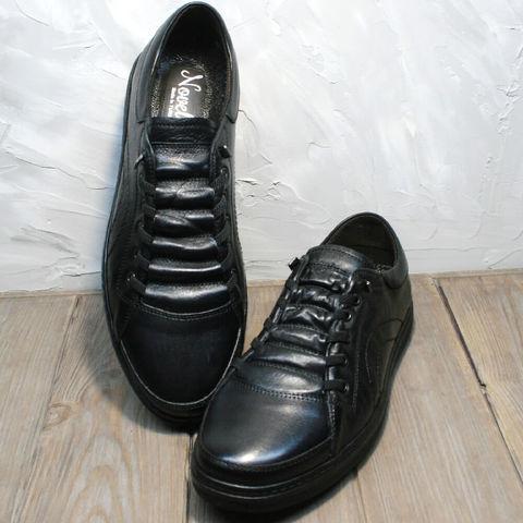 Модные осенние кроссовки кеды мужские кожаные.  Мужские кеды сникерсы без шнурков Novelty Black.