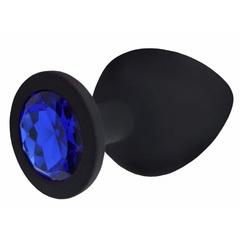 Анальная силиконовая пробка малая S (черный/синий)