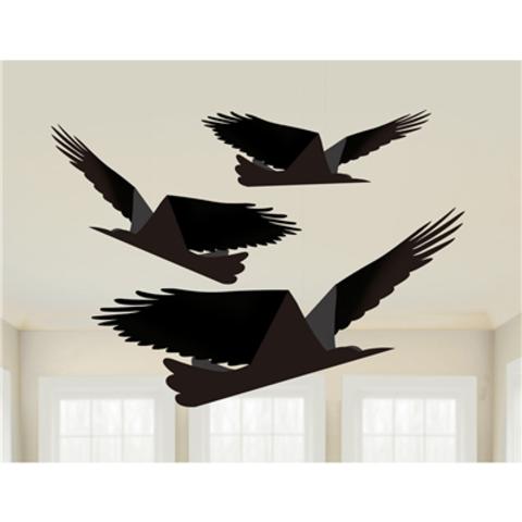 Фигура подвесная Ворон 33-38-43см 3шт