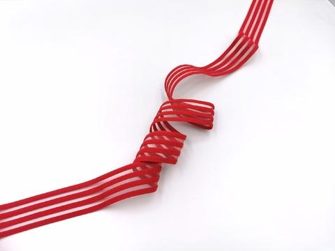 Резинка с прозрачными нейлоновыми вставками, 3см, красная, м