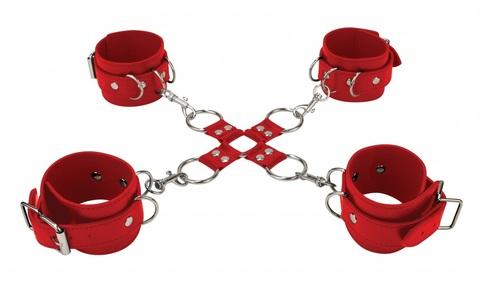 Красный комплект оков Hand And Legcuffs