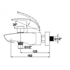 Смеситель KAISER Nova 23022 для ванны схема