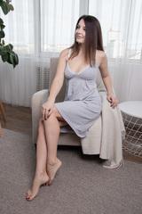 Сорочка для беременных и кормящих цвет серый меланж/белое кружево