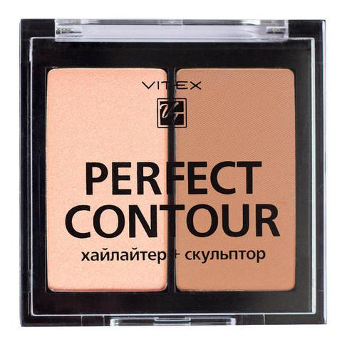 Палетка для контуринга VITEX Perfect Contour ( хайлайтер + скульптор ) тон 02 Bronze