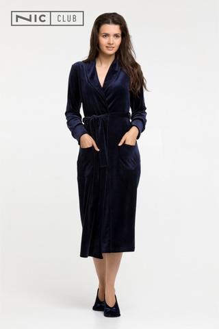 Темно-синий Велюровый халат Nic Club Petra-1701