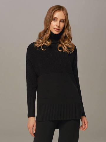 Женский свитер черного цвета с высоким горлом из шерсти и кашемира - фото 1