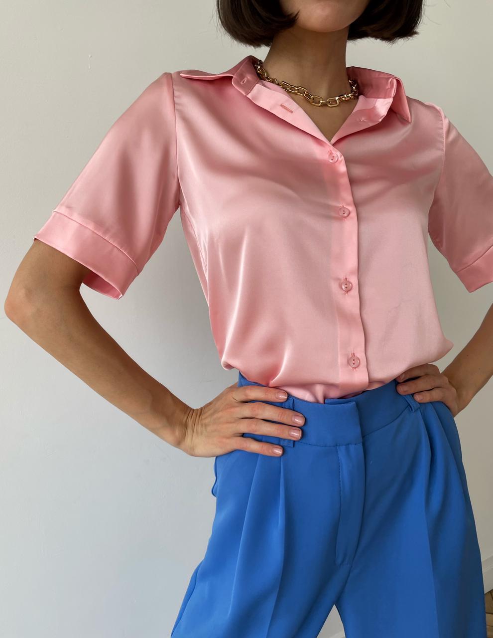 Рубашка шелковистая с коротким рукавом (пудровый)