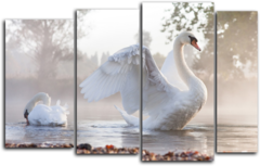"""Модульная картина """"Белые лебеди"""""""