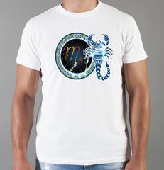Футболка с принтом Знаки Зодиака, Скорпион (Гороскоп, horoscope) белая 0066