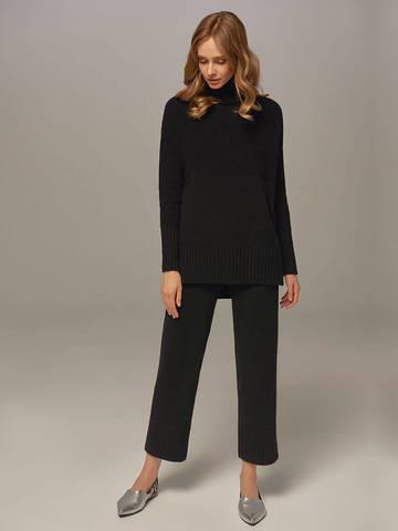 Женский свитер черного цвета с высоким горлом из шерсти и кашемира - фото 4