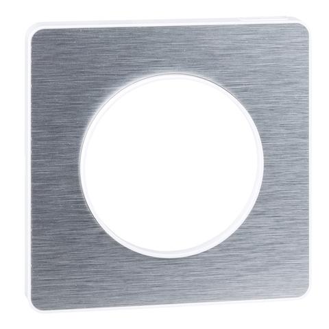 Рамка на 1 пост. Цвет Полированный алюминий, белая вставка. Schneider Electric(Шнайдер электрик). Odace(Одес). S52P802J