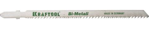 Полотна KRAFTOOL, T345XF, для эл/лобзика, Bi-Metall,универ.: по нерж.стали, дереву с гвоздями, EU-хвост., шаг 1,8-2,5мм, 110мм, 2шт