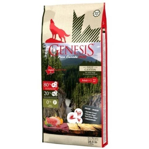 Genesis Pure Canada Deep Canyon Adult для взрослых собак всех пород с курицей, ягненком и козой, 11,79 кг.