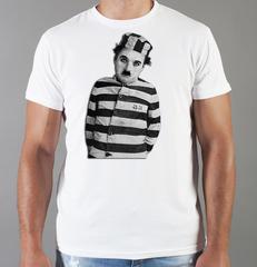 Футболка с принтом Чарли Чаплин (Charlie Chaplin) белая 0012