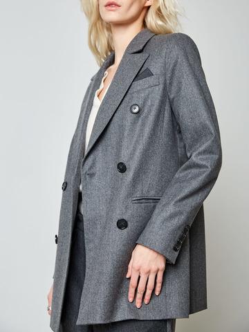 Жакет классического кроя из шерсти т.серый
