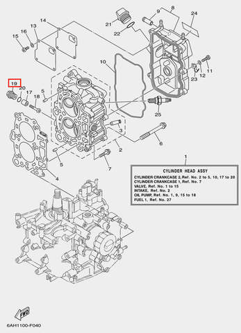 Заглушка анода для лодочного мотора F20 Sea-PRO M16×1.5-10.5 (4-19)