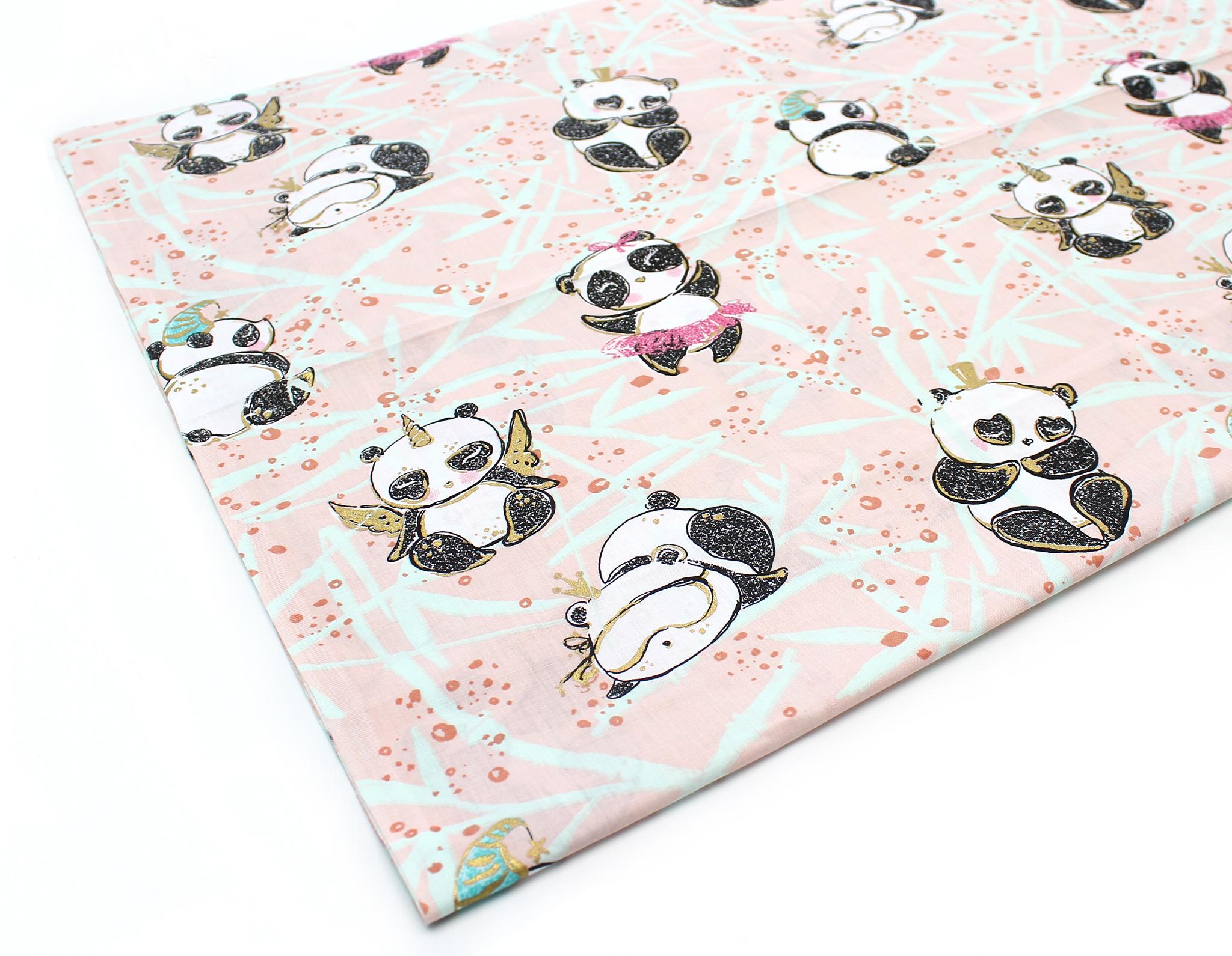 Панды,карнавал(золото,глиттер),розовый фон
