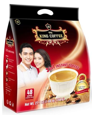 Растворимый кофе 3в1 TNI King Coffee. Коробка 10х48 штук.