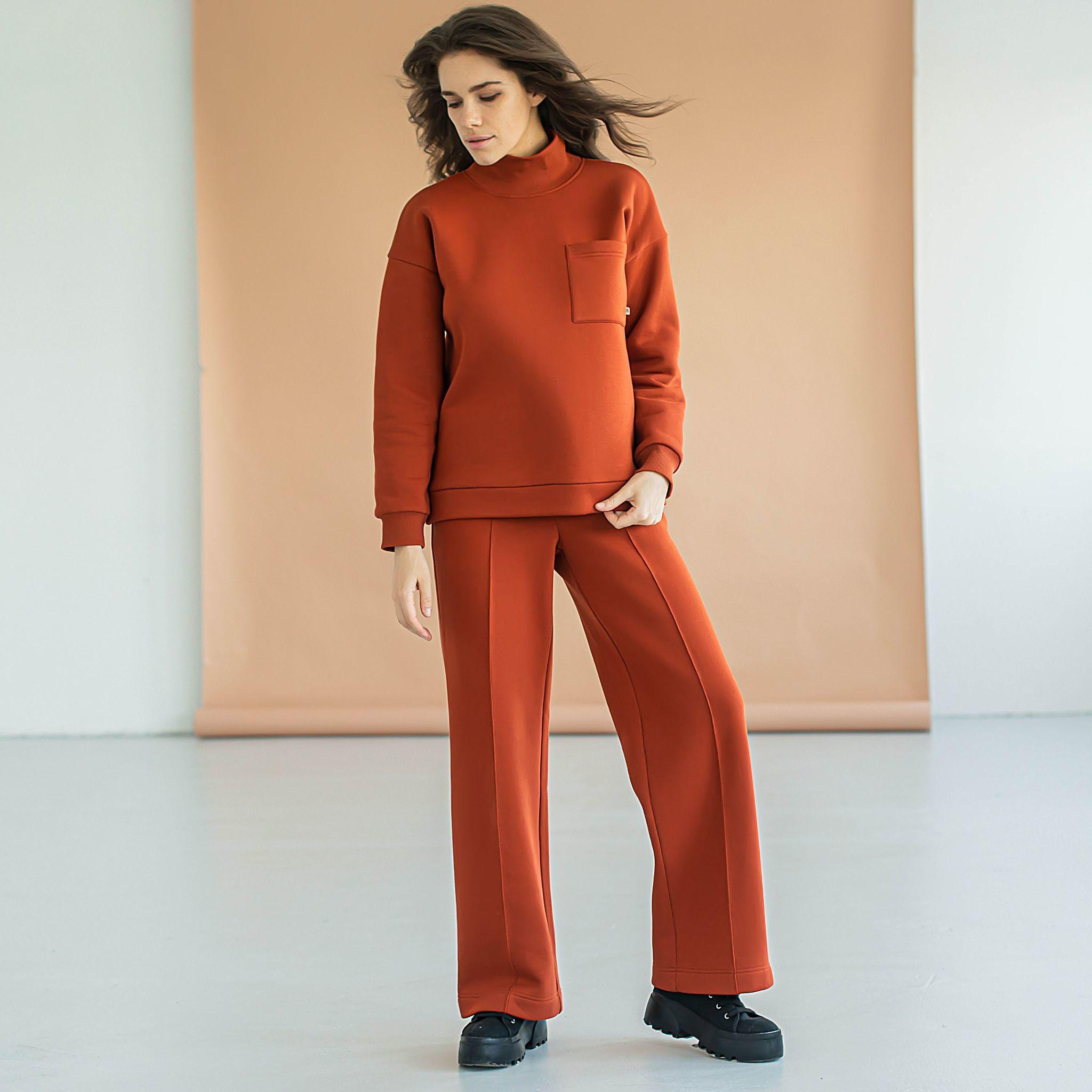 Warm oversized sweatsuit for women - Terracotta