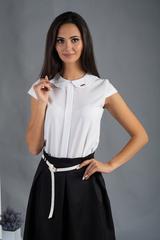 Віта. Класична блуза з круглим коміром. Білий однотон