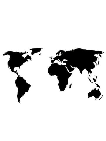 Карта мира La Contre'e 80x45 cm черная