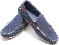 Красивые мокасины мокасины мужские на лето Faber 142213-7 Navy Blue.