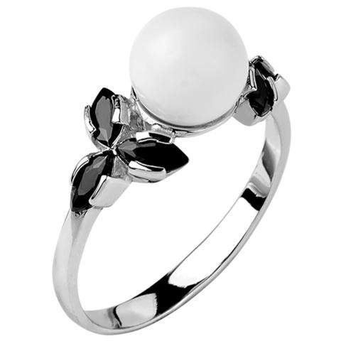 Кольцо из серебра с черной нано шпинелью и белым кварцем  Арт.1074н-шп-кв