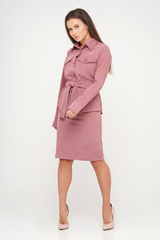 Розовый костюм из вельвета