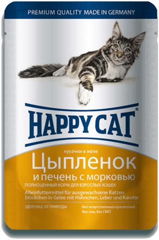 купить Happy Cat Adult Chunks in Gravy with Chicken, Liver and Carrots пауч (влажный корм) для кошек с цыпленком и печенью с морковью