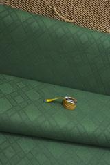 Ткань натуральная, с жаккардовым переплетением, цвет : зеленый ромб