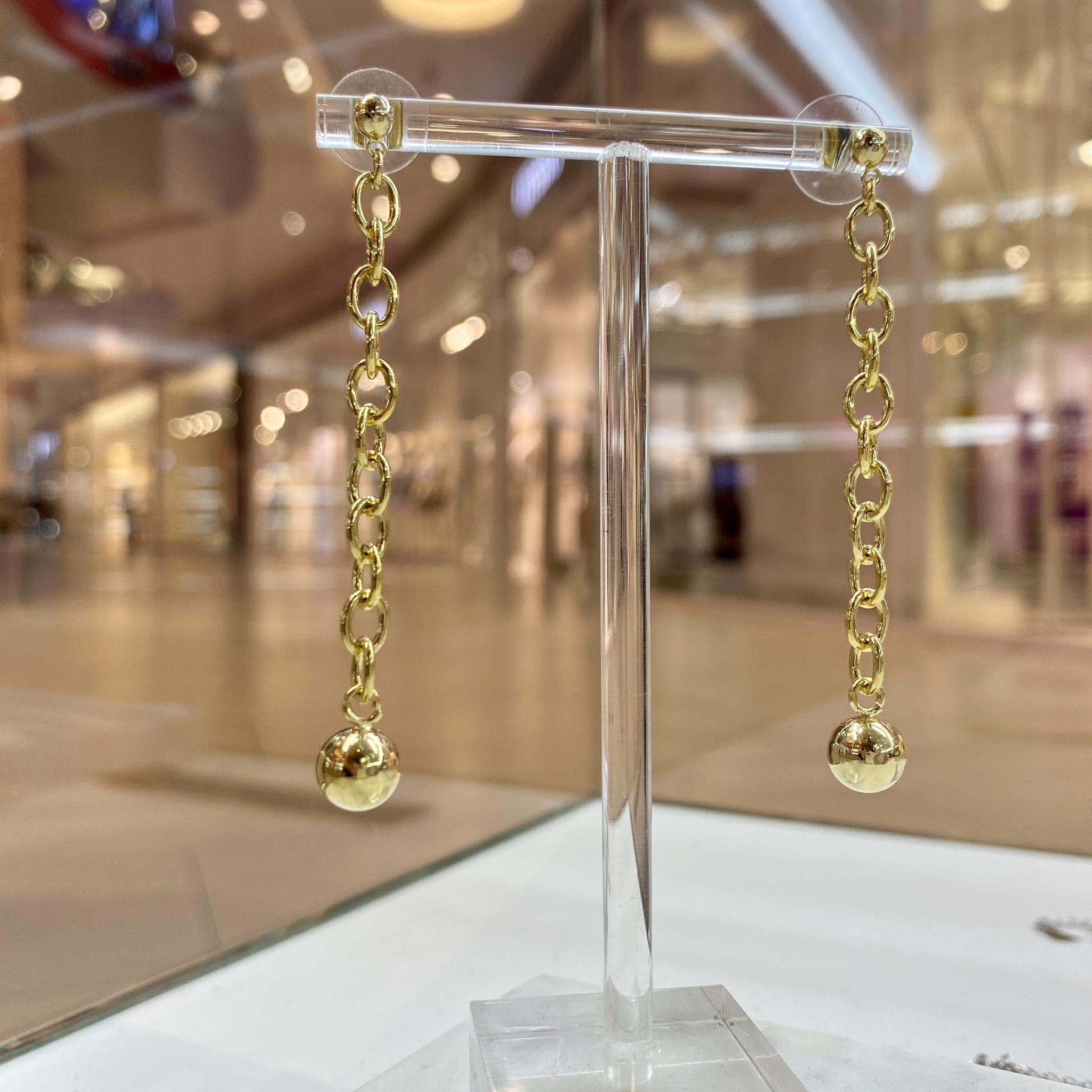 Серьги-цепочки с подвеской-бусинкой ш925 (золотистый)