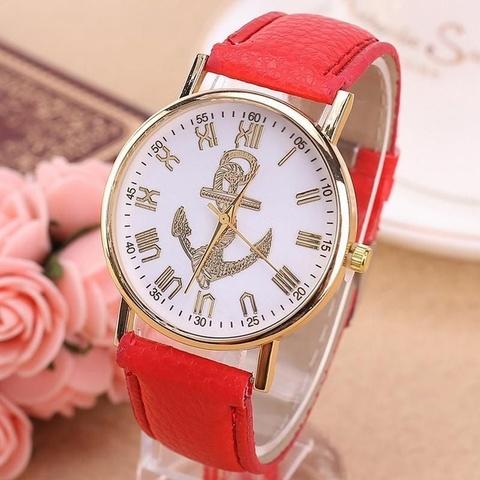Купить Часы в морском стиле с золотым якорем (красный) в Магазине тельняшек
