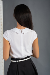 Вита. Классическая блуза с круглым воротником. Белый однотон