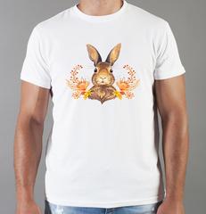 Футболка с принтом Заяц (Кролик) белая 006