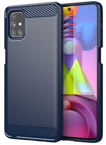 Чехол под карбон темно-синего цвета на Samsung Galaxy M51, серия Carbon от Caseport